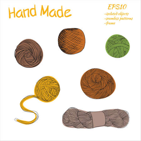 Balls of yarn for knitting. Vector illustration. Yarn balls set