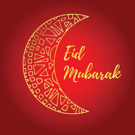 crescent: Greeting card of Eid Mubarak holiday. Golden moon on red background. Vector illustration