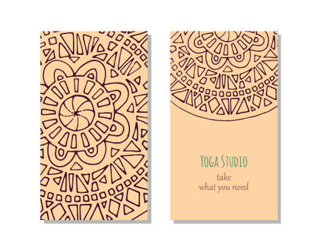 stretchy: Cards template for yoga studio.  Vector editable pattern with front and back side visit cards or flyer. Illustration