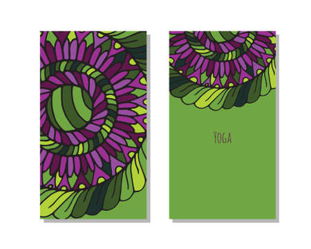 kundalini: Cards template for yoga studio.  Vector editable pattern with front and back side visit cards or flyer. Illustration
