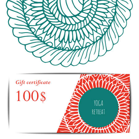 kundalini: Cards template for yoga studio.  Vector editable pattern  visit card or gift card.