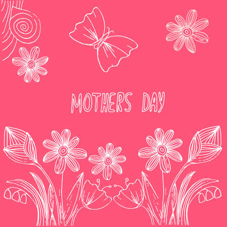 Postcard in doodle technic for mothers day