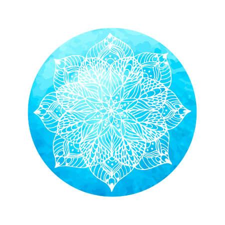 Mandala bloem op aquarel cirkel - handverf.