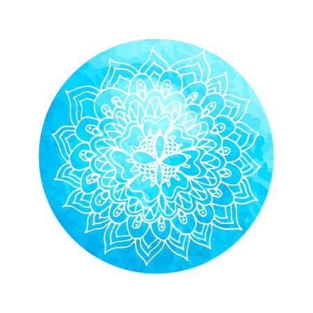 Mandala flower on watercolor circle - hand paint.