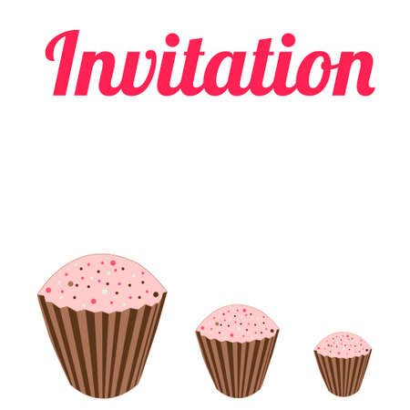 chocolate swirl: Invitation with rose cupcakes in vector
