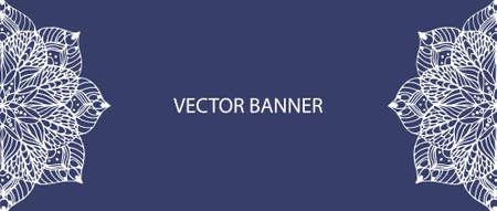 creation of sites: Mandala flower on vector banner Illustration