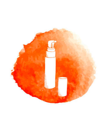 Hand paint doodle cosmetics on red watercolor circle. Made in vector Vettoriali