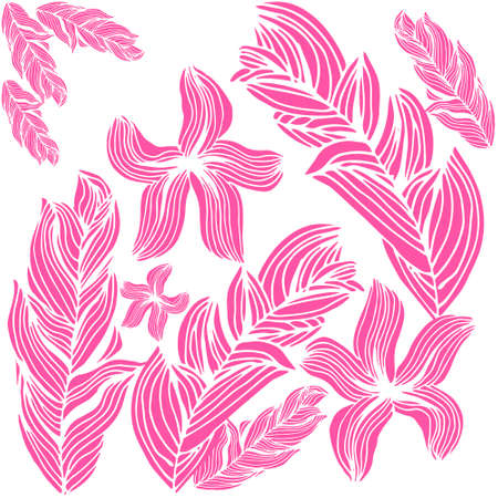 flowers shadows - pink on white