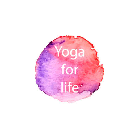Watercolor circle with slogan about yoga.