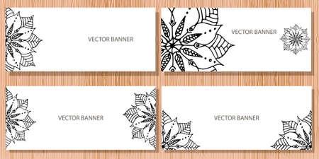 creation of sites: Mandala flower on banner in vector Illustration