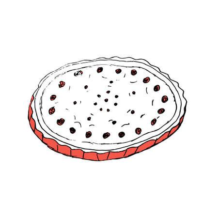 Doodle hand paint cherry pie in vector