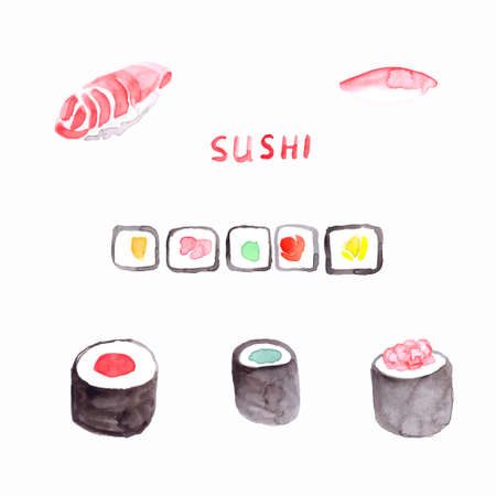 cooked rice: Watercolor sushi in vector - for menu, poster and other