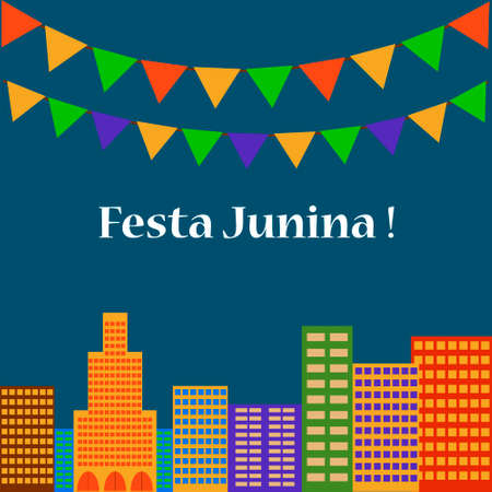 Background with colored flags for the June party of Brazil