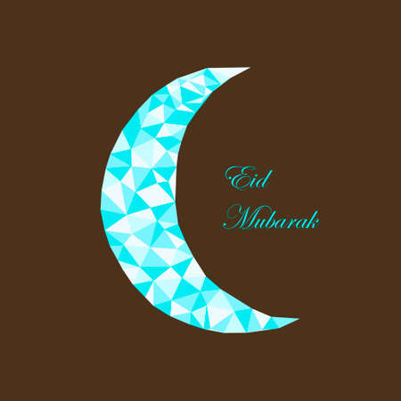 Mubarak pattern with polygonal moon. Can be use as sticker, tag,  design greetings card or label design
