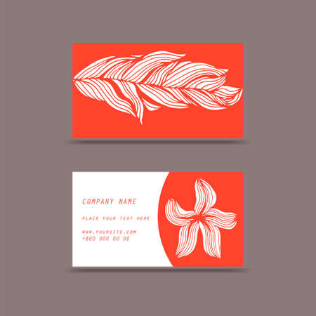 Visit cards with flowers shadows in vector for your business