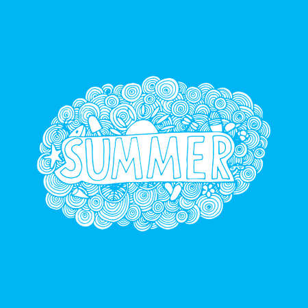 sun cream: Hand drawn summer doodle for pattern, cards, and other