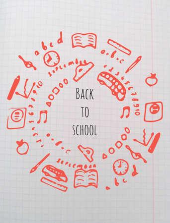 Back to school pattern in vector. School notebook Illustration