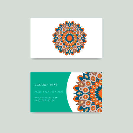 Visit card and discount card with flower mandala in vector