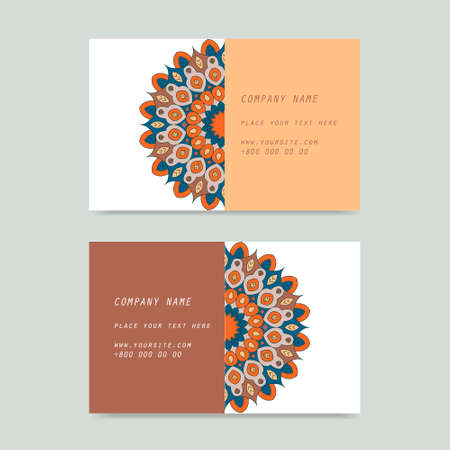 creation of sites: Visit card and discount card with flower mandala in vector