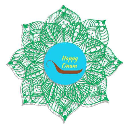 pookolam: Colorful floral mandala design for South Indian festival Onam