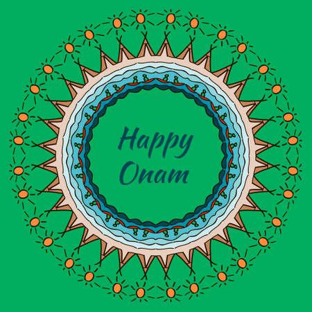 malayalam: Banner with mandala design for South Indian festival Onam