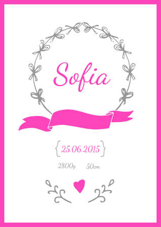 mother and baby: Baby Arrival Card in vector Illustration