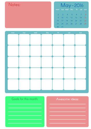 ベクトルのカレンダー プランナー 2016