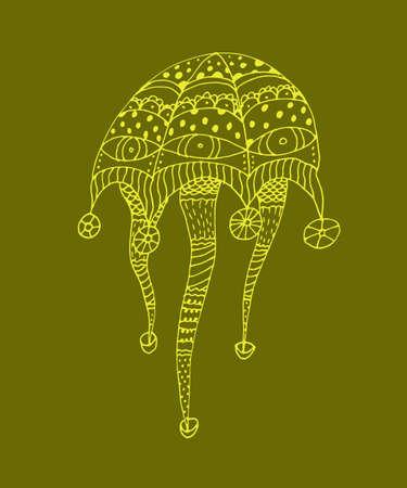gelatin: Doodle jellyfish in vector. Hand drawn
