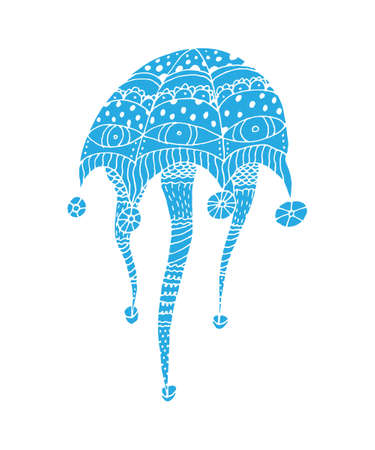 blue fish: Doodle jellyfish in vector. Hand drawn