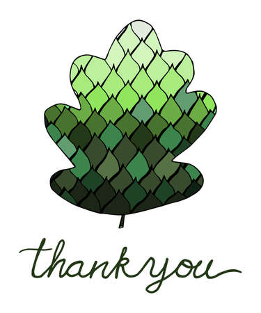 courtesy: Thank you lettering. Hand drawn. Doodle leaves Illustration