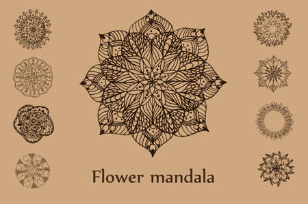 intricacy: Hand drawn flower mandala set for cards, invitations and other