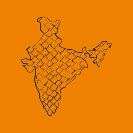 India doodle map in Illustration