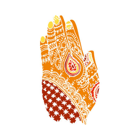 Happy diwali card. Hands with henna Illustration