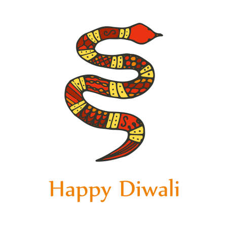 Happy diwali card. Doodle snake Illustration