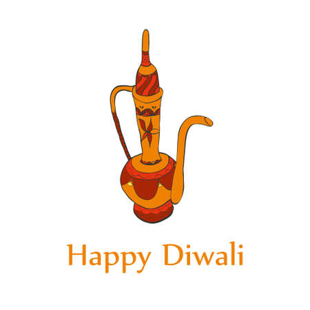 Happy diwali card in sign. Hand drawn