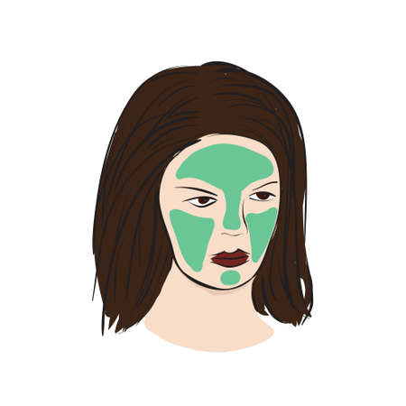 hair mask: Cosmetic mask on the women face