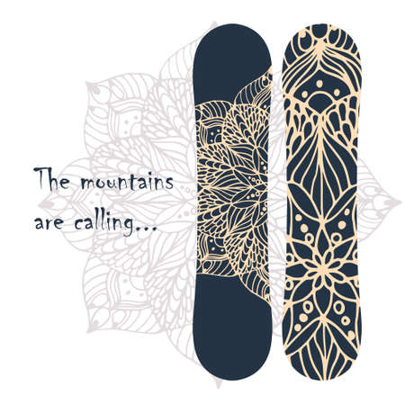 Print for snowboard with flower mandala