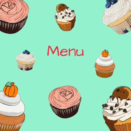 chocolate swirl: Menu with cupcake in sign