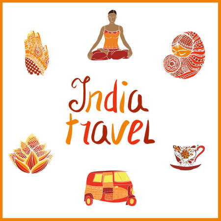 Doodle India elements -  cup of tea, lettering, taxi, lotus, indian girl, henna hands and other