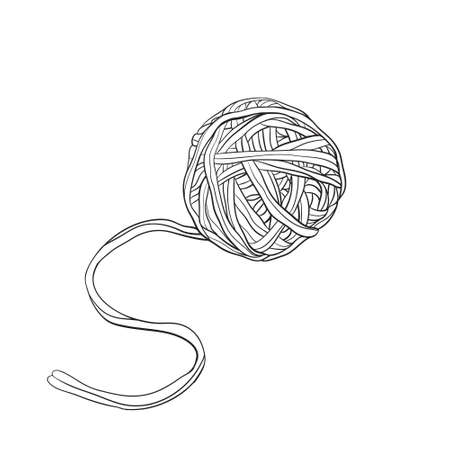 Yarn ball in doodle style Illustration