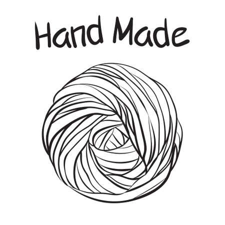 Yarn ball in doodle style Ilustração