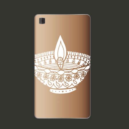 auspicious: Happy diwali lamp on phone in vector.