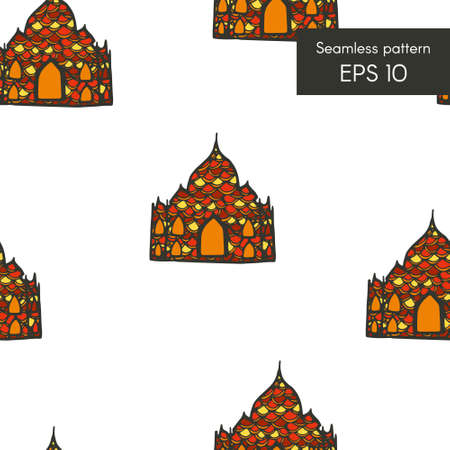 Seamless pattern with indian doodle house for cards, invitations and other Illustration