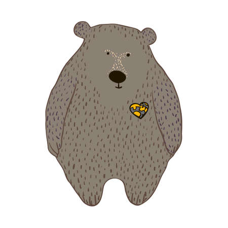 Kids mechanical toy. Grey bear in vector
