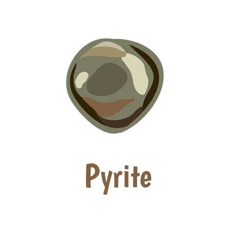 onyx: Pyrite stone on white background.  illustration