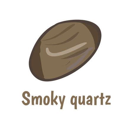 onyx: Smoky quartz stoneon white background.  illustration