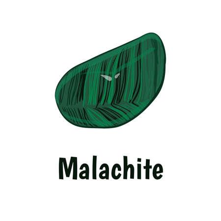 onyx: Malachite stone on white background.  illustration