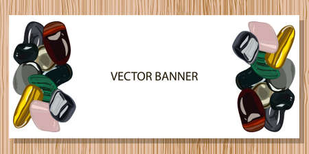 Banner with beauty stones on white background. Vector illustration