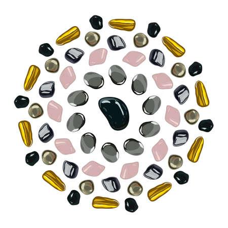 onyx: Flower mandala with stones on white background.  illustration