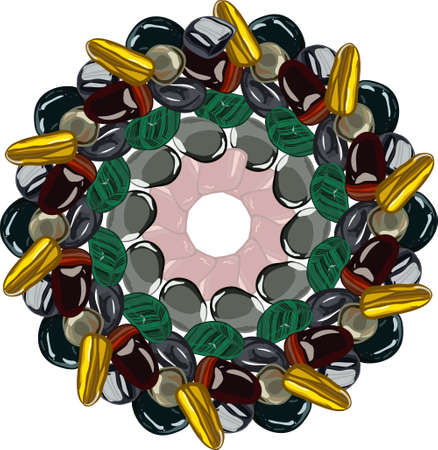 Flower mandala with stones on white background.  illustration